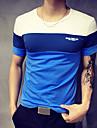 T-shirt - Taglie forti Per uomo Sport Collage, Monocolore Rotonda - Cotone Blu e bianco / Manica corta / Estate