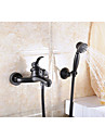Antique Centerset Handshower Included Ceramic Valve Three Holes Single Handle Two Holes Oil-rubbed Bronze, Bathtub Faucet