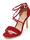 Damă Sandale Primăvară Vară Toamnă Confortabili Imitație de Piele Birou & Carieră Rochie Casual Toc Stiletto CataramăNegru Rosu Albastru