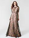 Linia -A Gât Înalt Lungime Podea Șifon / Tulle 2 Bucăți / See Through / Inspirație Vintage Seară Formală Rochie cu Broderie de TS Couture®