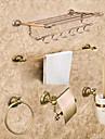 Badrumstillbehörsset Nyklassisistisk Mässing 5pcs - Hotellbad Toalettborsthållare torn ring torn bar Toalettpappershållare