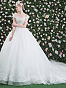 Ball Gown Off-the-shoulder Cathedral Train Lace Tulle Wedding Dress with Crystal Beading Sequin Pattern Ruffle by QZ