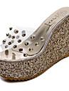 Pentru femei Pantofi PU Primăvară / Vară Confortabili / cizme slouch Sandale Plimbare Toc Platformă Vârf deschis Auriu / Argintiu