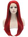 Synthetische Lace Front Peruecken Glatt Rot Rot Synthetische Haare Damen Natuerlicher Haaransatz Rot Peruecke Lang Spitzenfront