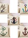 5 pcs Coton/Lin Taie d\'oreiller Housse de coussin, Ancre Mode Nouveaute Neoclassique Euro Traditionnel/Classique Retro