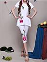 Pentru femei-Tipar,Stil Floral Talie Înaltă Legging