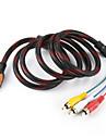 5 picioare HDMI Male intrare la 3 RCA Plug Audio Video Cablu AV Adaptor convertor conector, Durable (negru, 1,5 M)