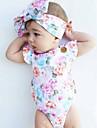 Bebelus Fete O - piesă Vintage Modă Bumbac Vară Fără manșon Floral Alb