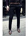 Bărbați Zvelt Activ Talie Medie,Micro-elastic Costum Afacere Pantaloni Culoare pură Mată