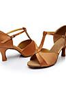 Pentru femei Pantofi Dans Latin Mătase Sandale Toc Personalizat Personalizabili Pantofi de dans Maro / Interior / Piele