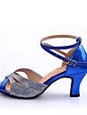 Pentru femei Pantofi Dans Latin Călcâi Despicare Toc Personalizat Personalizabili Pantofi de dans Rosu / Albastru / Interior / Piele
