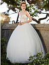 Haine Bal In Formă de Inimă Lungime Podea Tulle Rochie de mireasă cu Mărgele Aplică de LAN TING BRIDE®