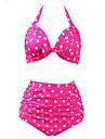 Dame Poliester Nailon Bulină polka Halter,Bikini Costume de Baie Punct Talie Înaltă Retro Bleumarin Roz