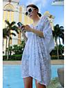Damă Casul/Zilnic Petrecere/Cocktail Nuntă Larg Dantelă Rochie-Floral Manșon scurt V Adânc Sub Genunchi Poliester Spandex Toate Sezoanele