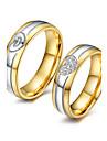 Pentru cupluri Zirconiu Cubic Inele Cuplu - 18K Placat cu Aur, Zirconiu Cubic Modă, Elegant 5 / 6 / 7 Auriu Pentru Nuntă / Aniversare / Petrecere / Seară / Logodnă / Zilnic