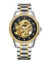 Bărbați Mecanism automat Ceas de Mână Japoneză Rezistent la Apă Gravură scobită Iluminat Oțel inoxidabil 24K Placat cu Aur Bandă Lux Modă