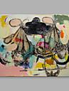 Peint a la main Abstrait Format Horizontal, Abstrait Toile Peinture a l\'huile Hang-peint Decoration d\'interieur Un Panneau