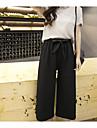 Damă Relaxat Simplu Talie Înaltă,Micro-elastic Larg Picior Larg Pantaloni Culoare pură Șifon Mată Sexy