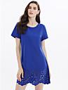 Damen Festtage / Ausgehen / Strand Baumwolle T Shirt Kleid - Ausgeschnitten, Solide UEbers Knie