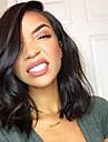 Äkta hår Spetsfront Peruk Brasilianskt hår Vågigt Kort Bob 130% Densitet Med Babyhår limfria Naturlig hårlinje Natur Svart Korta Mellan