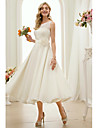 A-Line Bateau Neck Tea Length Chiffon Made-To-Measure Wedding Dresses with Sash / Ribbon by LAN TING BRIDE®