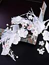 Șifon Imitație de Perle Dantelă Pană Material Textil Net Diadema-Nuntă Ocazie specială Zi de Naștere Party/Seara Flori Clipuri de Păr1