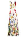 Damen Strand Festtage Swing Kleid - Druck, Blumen Maxi V-Ausschnitt Hohe Huefthoehe Schmetterling