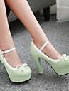 Damă Pantofi PU Primăvară Toamnă Confortabili Tocuri Toc Îndesat Platformă Vârf rotund Pentru Casual Negru Verde Roz