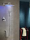 Contemporan LED Montaj Perete Duș Ploaie Duș De Mână Inclus Valvă Ceramică Crom, Robinete de Duș