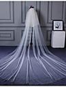 Voal de Nuntă Două Straturi Voaluri Lungi Până la Cot Voaluri de Catedrală Margine Tăiată Ornament margine perlă Tulle
