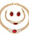 Mujer Conjunto de joyas Chapado en Oro Clasico, Moda Incluir Collar Rojo Para Boda Fiesta Cumpleanos Pedida Regalo