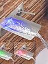 Moderne Montage mural Jet pluie LED Soupape ceramique Mitigeur deux trous Nickel brosse, Robinet lavabo
