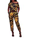 Damă Rotund Tricou Pantaloni Costume Ieșire Casul/Zilnic Alergat Sexy Boho Șic Stradă,Imprimeu Peteci ½ Lungime Manșon Primăvara Toamnă