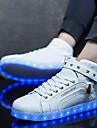 Herr Skor PU Vår Höst Komfort Sneakers Snörning LED Till Casual Vit Svart Röd