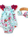 Bebelus Fete O - piesă Geometric Modă Bumbac Vară Manșon scurt Floral Haine Albastru piscină