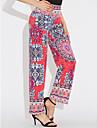 Women\'s Boho Loose / Chinos Pants - Rainbow Red