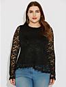 Damă Rotund Bluză Plus Size Jacquard Manșon Lung Primăvară Toamnă-Mediu Poliester