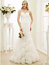 Trompetă / Sirenă In Formă de Inimă Mătura / Trenă Tulle Rochii de mireasa personalizate cu Drapat Părți Flori de LAN TING BRIDE®