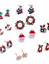 Pentru femei Cercei Stud Cercei Rotunzi Adorabil Bling bling Ștras Aliaj Bijuterii Pentru Crăciun Club