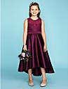 A-linje / Prinsesse Besmykket Asymmetrisk Blonder / Sateng Junior brudepikekjole med Belte / baand av LAN TING BRIDE® / Bryllupsfest / Gjennomsiktig
