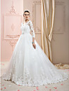 Ball Gown V Neck Court Train Lace Over Tulle Custom Wedding Dresses with Appliques Crystal Detailing by LAN TING BRIDE®