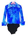 Top para patinaje artistico Hombre Chico Patinaje Sobre Hielo Camisas Azur Licra Alta elasticidad Competicion Ropa de Patinaje Hecho a mano Un Color Manga Larga Patinaje sobre hielo Patinaje artistico
