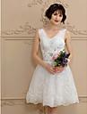 a-line v-neck gât scurtă / mini tul rochie de mireasa cu beading de amgam