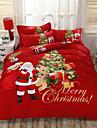 Christmas Cartoon 4 Piece Cotton Cotton 4pcs (1 Duvet Cover, 1 Flat Sheet, 2 Shams)