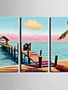 Landskap Moderna, Tre paneler Duk Vertikal Tryck väggdekor Hem-dekoration