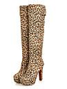 Pentru femei Pantofi Nappa Leather Iarnă Cizme la Modă cizme slouch Cizme Toc Drept Cizme înalte pentru Casual În aer liber Negru Maro
