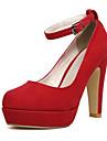 Pentru femei Pantofi Piele nubuc Primăvară Toamnă Balerini Basic Tocuri Toc Stilat pentru Casual Negru Albastru Roșu Vin