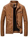 Bărbați Stand Jachetă Casul/Zilnic Plus Size Simplu Vintage,Mată Manșon Lung Toamnă Iarnă-Regular PU