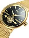 WINNER Bărbați Mecanism automat Ceas de Mână Gravură scobită Oțel inoxidabil Bandă Vintage Casual Ceas Elegant Modă Cool Negru Argint