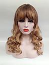 Sintetičke perike Wavy Stil Sa šiškama Capless Perika Plavuša Crno / Strawberry Blonde Sintentička kosa Žene Plavuša Perika Srednja dužina Cosplay perika